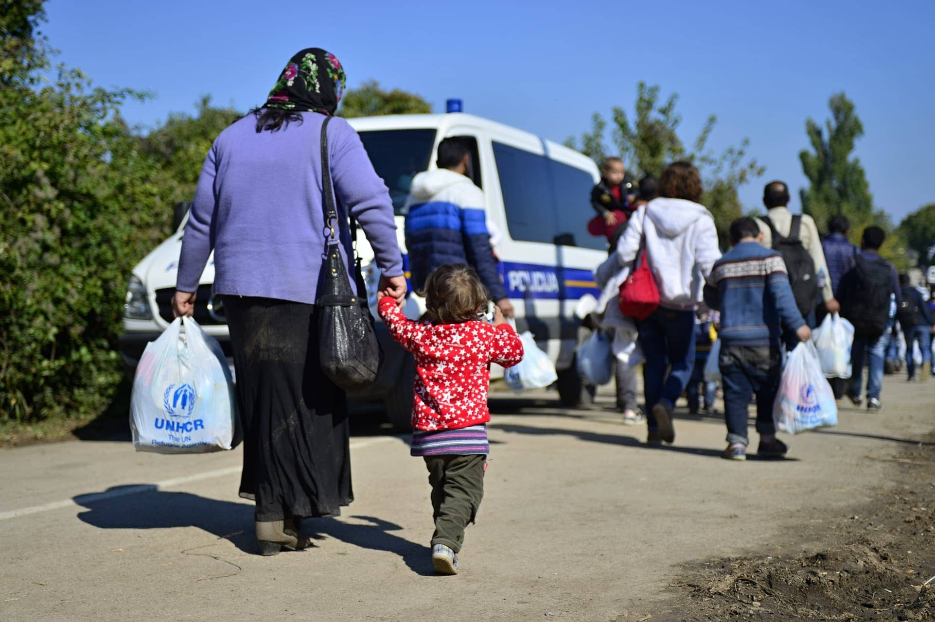 October 4, 2015; Bapska in Serbia. Photo of refugees leaving Serbia. They came to Bapska by buses and then they leaving Serbia and go to Croatia and then to Germany. Now they are waiting for entering EU in Croatia. October 4, 2015; Bapska in Serbia.